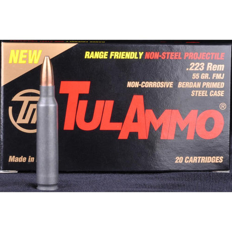 TulAmmo 223 55 Grain FMJ BJB Steel Case