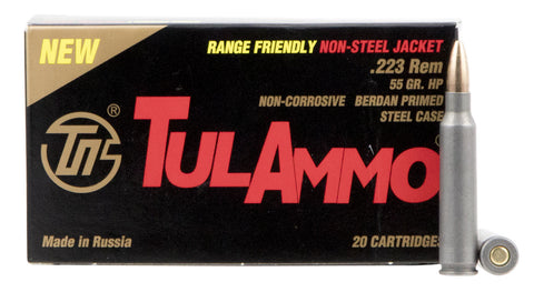 TulAmmo 223 55 Grain HP BJB Steel Case (20)
