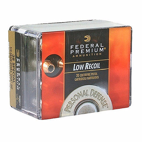 Federal 38 Special 110 Gr Premium Personal Defense Hydra-Shok JHP Low Recoil (20)