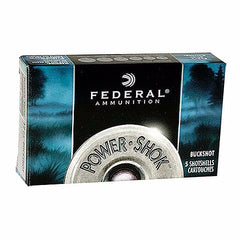 "Federal Power Shok 12 Gauge 00 BuckShot 9 Pellet 2.75"" 5 Rnd Box"