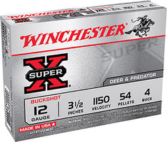 "Winchester Super-X 12 Gauge 3.5"" Copper-Plated Lead 54 Pellets 4 Buck 5 Round Box XB12L4"