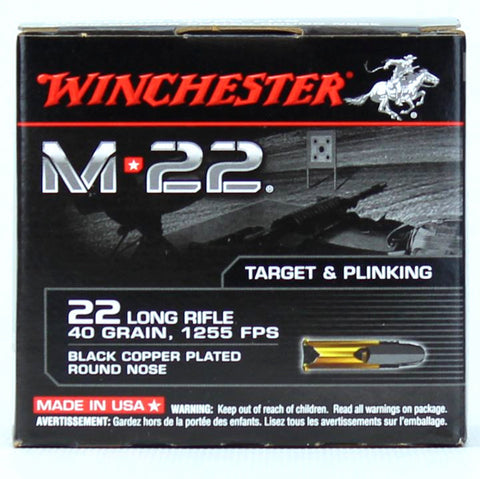 Winchester M-22 22LR Black Copper RN 40 Gn 1255 FPS 500 Rd Box