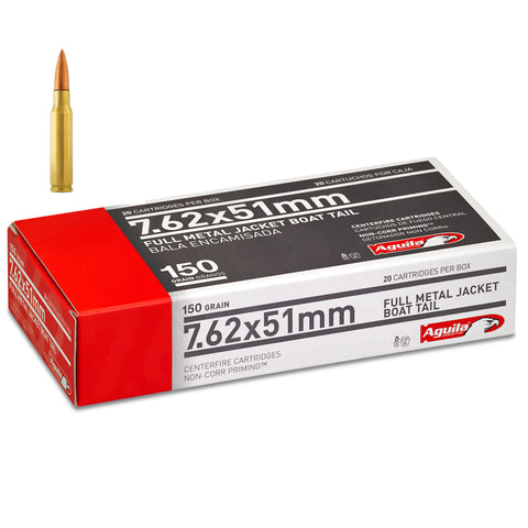 Aguila 7.62x51 308 Full Metal Jacket Boat Tail 150 Grain 20 Rnd Box