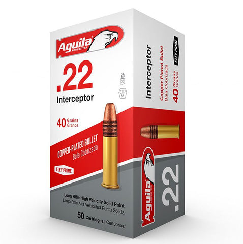 Aguila 22 LR 40 Gr Interceptor Copper Coated UHV 1470 FPS SP (50)