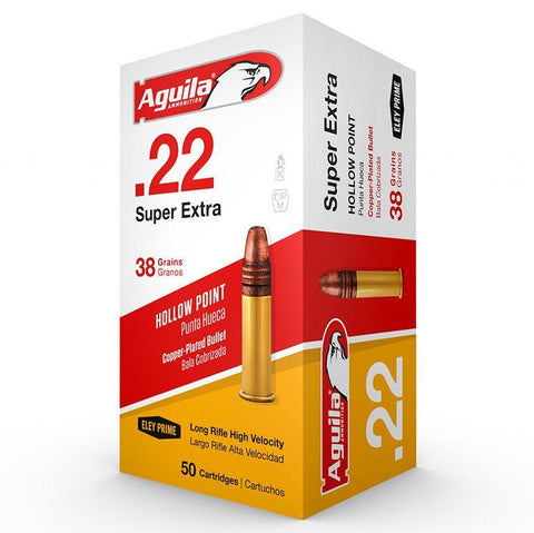 Aguila 22 LR 38 Gr Super Extra CC HV Hollow Point