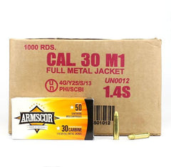 Armscor USA 30 Carbine Brass FMJ 110 Grain 1000 Rnd Case