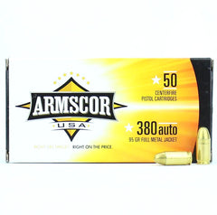 Armscor USA 380 Auto ACP FMJ 95 Grain 50 Round Box