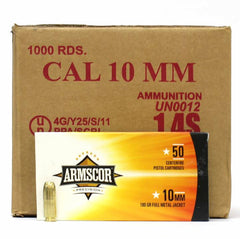 Armscor Precision 10mm 180 Gr FMJ 1000 Rnd Case