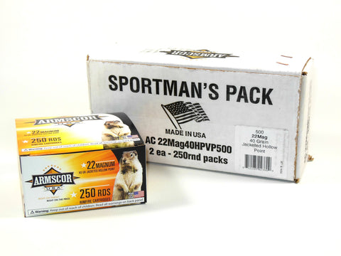 Armscor USA 22 Mag 40 Gr JHP Sportsman Pack (250)