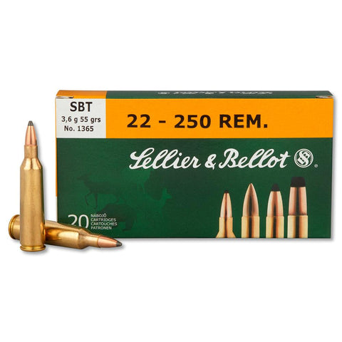 Sellier & Bellot 22-250 Rem 55 Gr SBT Sierra Gameking (20)