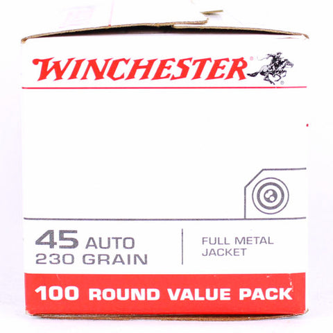 Winchester 45 Auto 230 Grain Full Metal Jacket 100 Pack