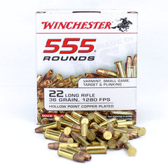 Winchester 22 LR Copper Coated HV Hollow Point 36 Grain 555 Round Box