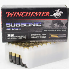 Winchester Subsonic 42 Max 22lr 42 Gr HP 1065 FPS 50 Pk