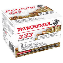 Winchester 22LR 36 Grain Copper Coated HP 333 Rounds Per Box