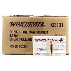Winchester 5.56 55 Grain Full Metal Jacket 20 Round Box