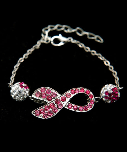 Breast Cancer Awareness Rhinestone Bracelet