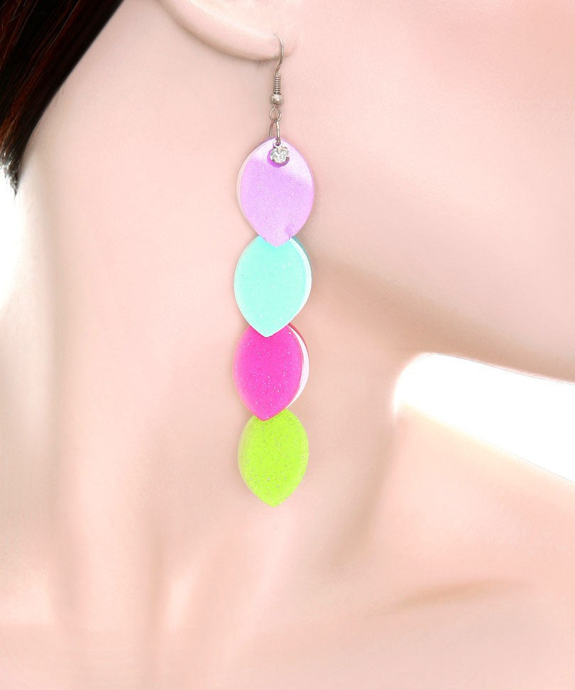 Colorful Almond Shape Drop Earrings