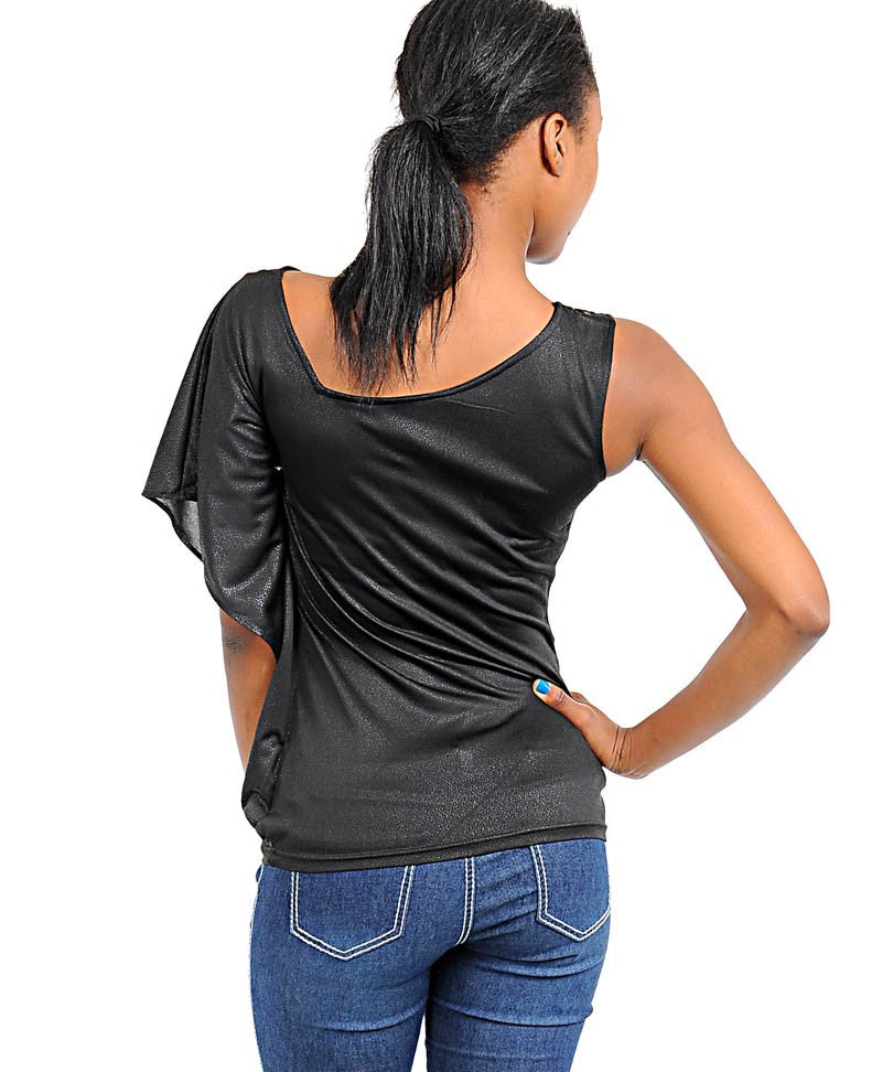 One Sleeve Black Fashion Top!
