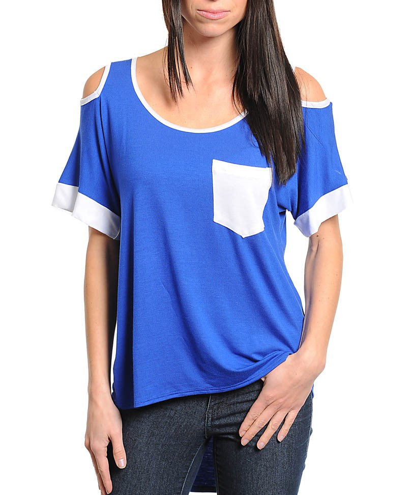 Royal Blue & White Top