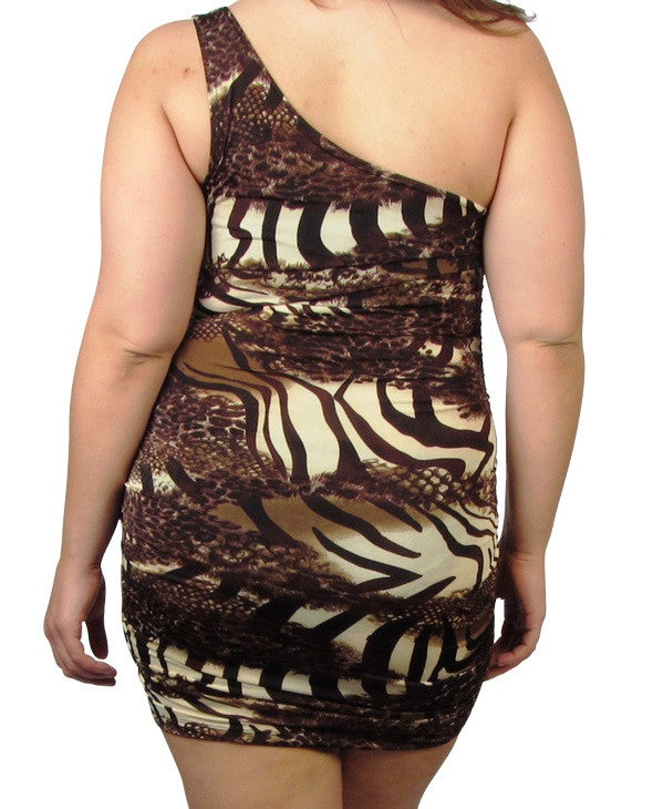 Single Strap Animal Print Dress