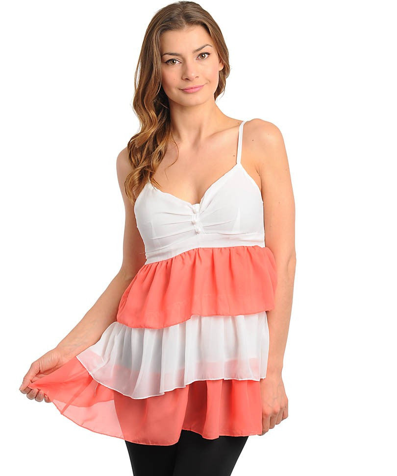 Coral & Ivory Tiered Top