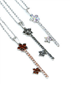 Silver Rhinestone Flower Key Necklace