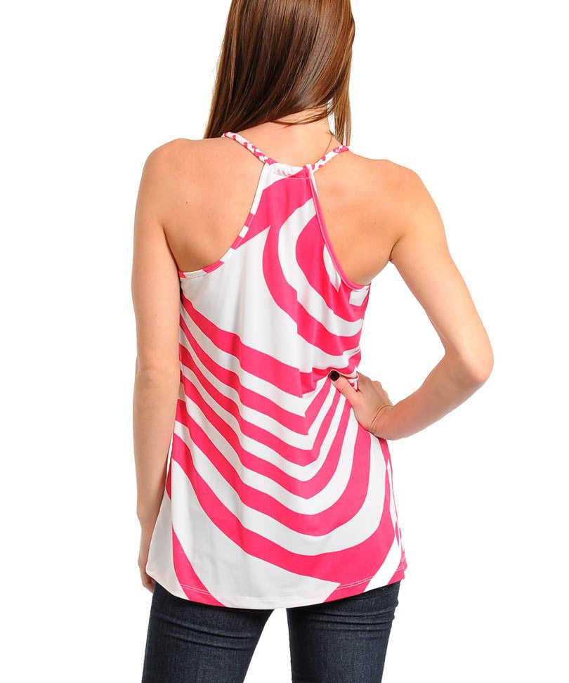 White & Fuchsia Top