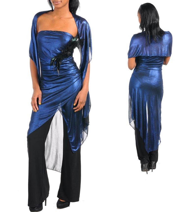 Royal Blue Metallic Jumpsuit