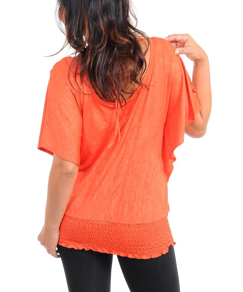 Orange Flutter Sleeve Top