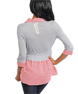 Gray & Red Pullover Top