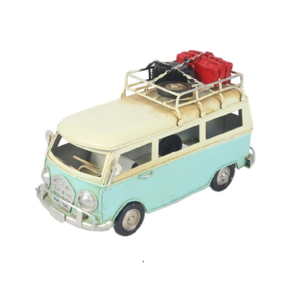 16cm Decorative Metal Vintage Light Blue Camper Van