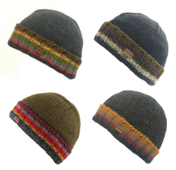 Kusan Ribbed Pull On Turn Up Beanie Hat