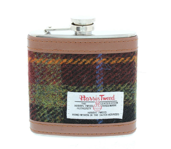 Glen Appin  Rust Harris Tweed 6oz Hip Flask Gift Boxed