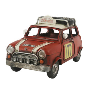 22.5cm Decorative Metal Vintage Red Racing Mini Car Model