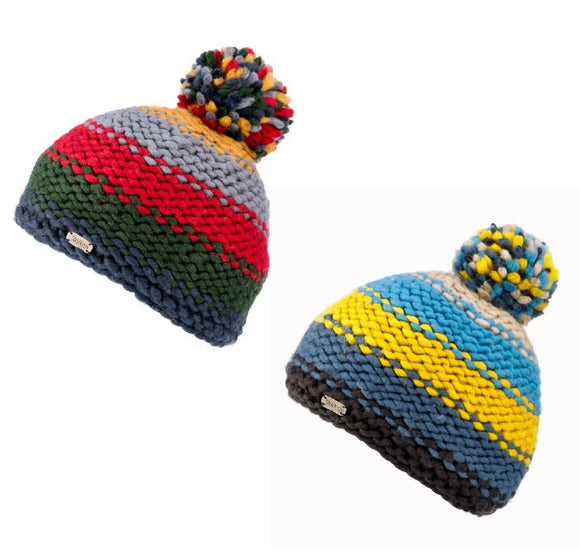 Kusan Moss Yarn Bobble Hat With Multi Coloured Pom (PK1834)