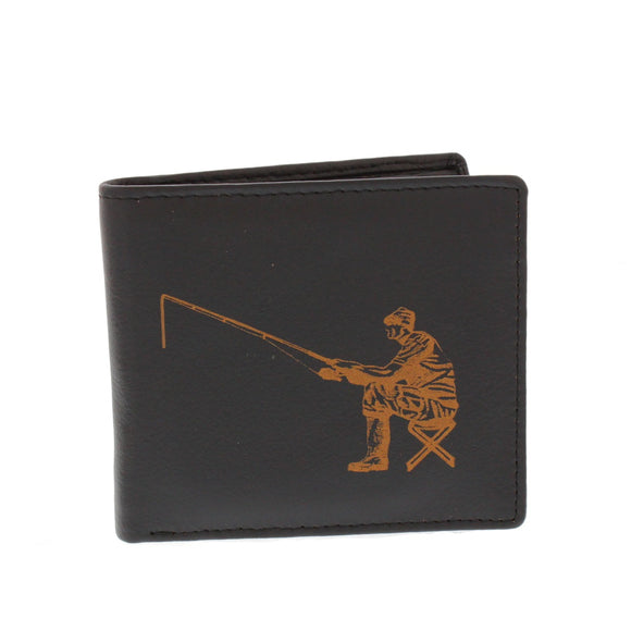 Leather Guild Black Leather Angler Engraved Wallet