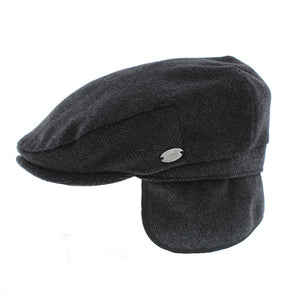 Whiteley Herringbone Tweed Earflap Flat Cap (M08)