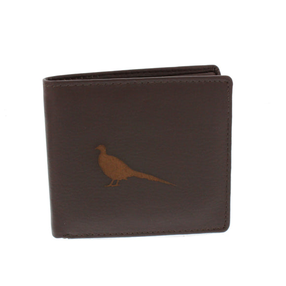Leather Guild Brown Leather Pheasant Engraved Wallet