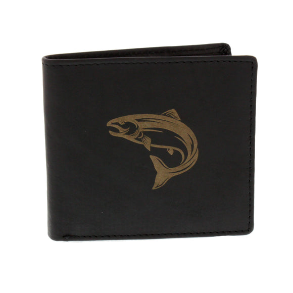 Leather Guild Black Leather Leaping Salmon Engraved Wallet
