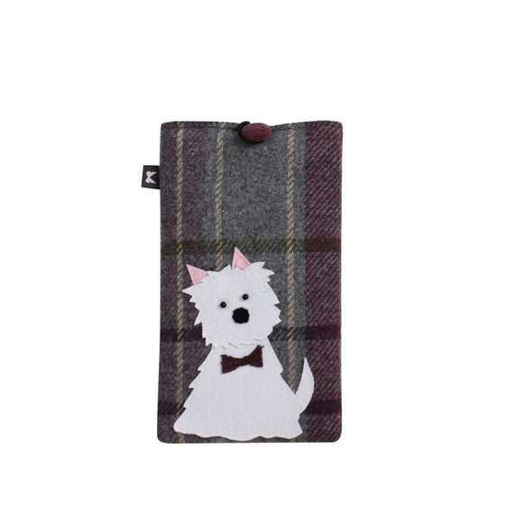 White Dog Applique Glasses Case by Earth Squared