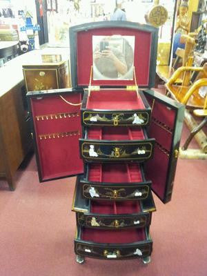 Chinese Lacquer Jewelry Armoire jewelry chest box tower Black