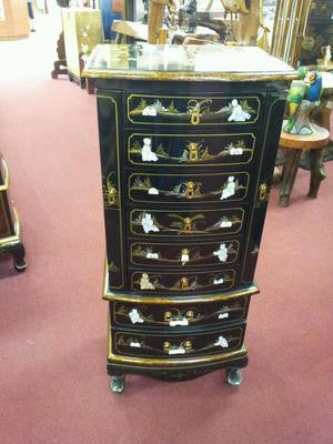 Chinese Lacquer Jewelry Armoire Jewelry Chest Box Tower Black Mother Of  Pearl