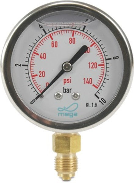 Glycerine Filled Pressure Gauge ¼""