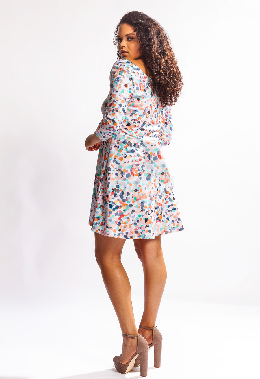 Bella Quarter Sleeve Fit & Flare Dress