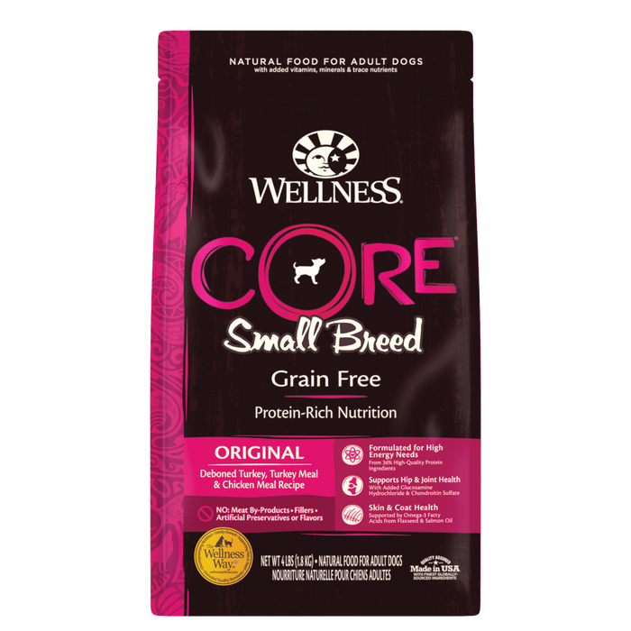Wellness CORE Grain Free Natural Small Breed Health Turkey and Chicken Recipe Dry Dog Food