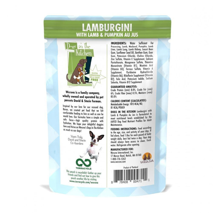 Weruva Dogs in the Kitchen Lamburgini Grain Free Lamb and Pumpkin Dog Food Pouches