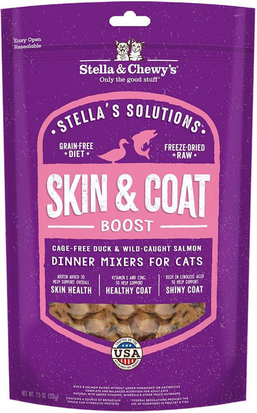 Stella & Chewy's Solutions Skin & Coat Boost Cage Free Duck & Wild Caught Salmon Cat Food Dinner Mixers