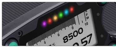 Six RGB shift lights can be configured for each gear, choosing LED color and RPM threshold values which will turn it on/off.