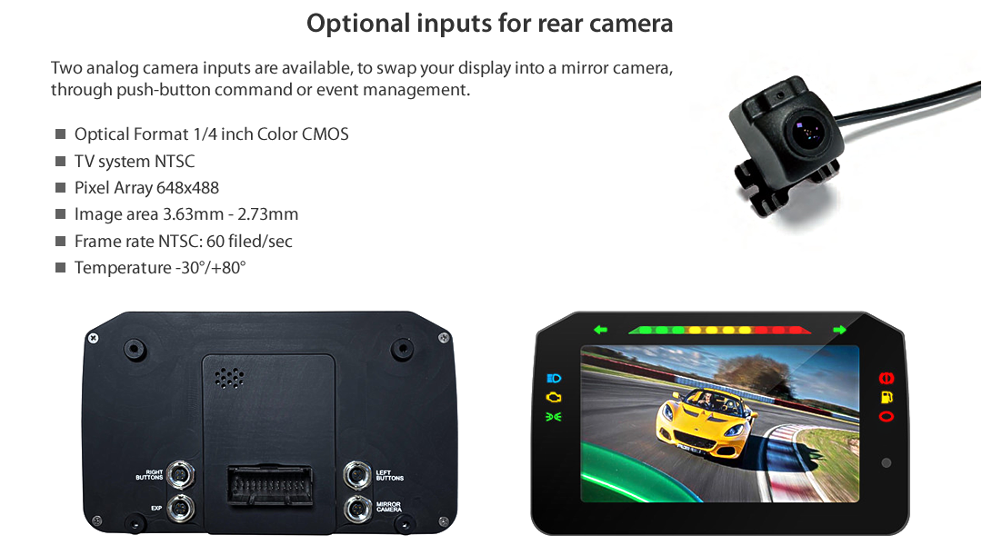 Optional inputs for rear camera