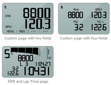 You can swap among pages showing lap times and data in a 100% customizable way